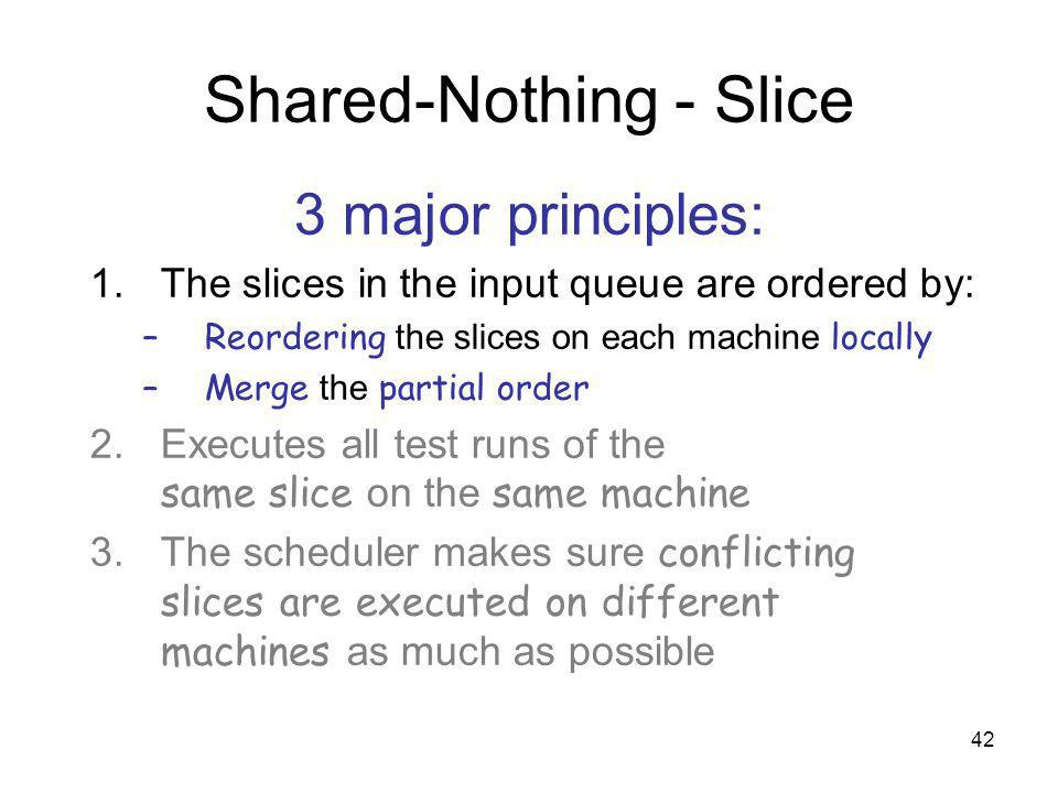 42 Shared-Nothing - Slice 3 major principles: 1.The slices in the input queue are ordered by: –Reordering the slices on each machine locally –Merge the partial order 2.Executes all test runs of the same slice on the same machine 3.The scheduler makes sure conflicting slices are executed on different machines as much as possible