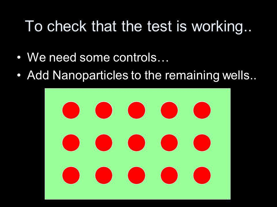 To check that the test is working..