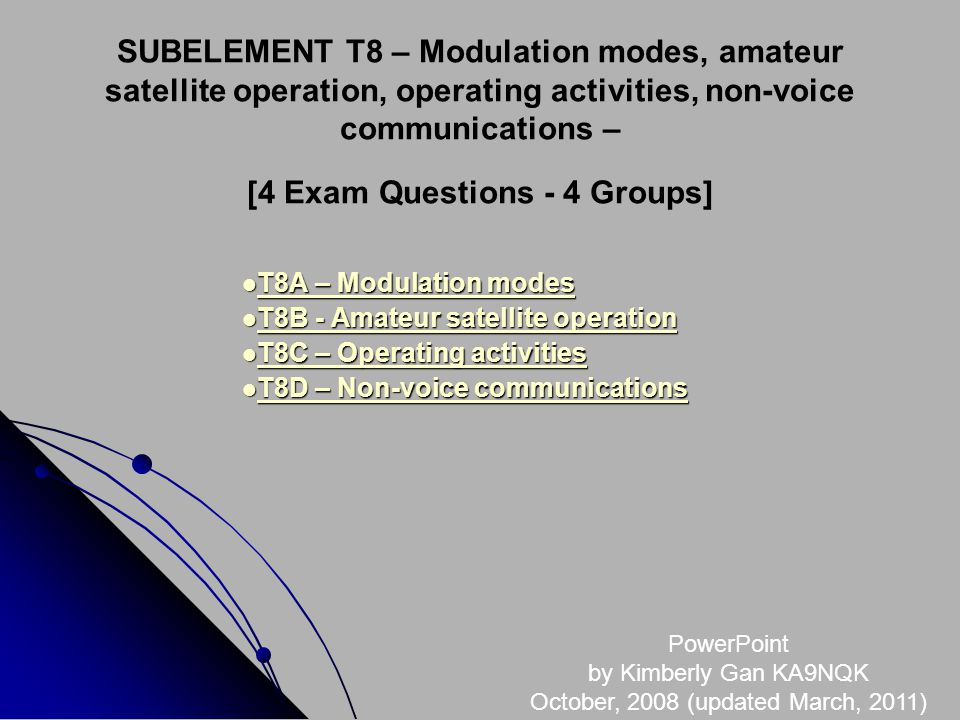 SUBELEMENT T8 – Modulation modes, amateur satellite operation, operating activities, non-voice communications – [4 Exam Questions - 4 Groups] T8A – Modulation modes T8A – Modulation modes T8A – Modulation modes T8A – Modulation modes T8B - Amateur satellite operation T8B - Amateur satellite operation T8B - Amateur satellite operation T8B - Amateur satellite operation T8C – Operating activities T8C – Operating activities T8C – Operating activities T8C – Operating activities T8D – Non-voice communications T8D – Non-voice communications T8D – Non-voice communications T8D – Non-voice communications PowerPoint by Kimberly Gan KA9NQK October, 2008 (updated March, 2011)