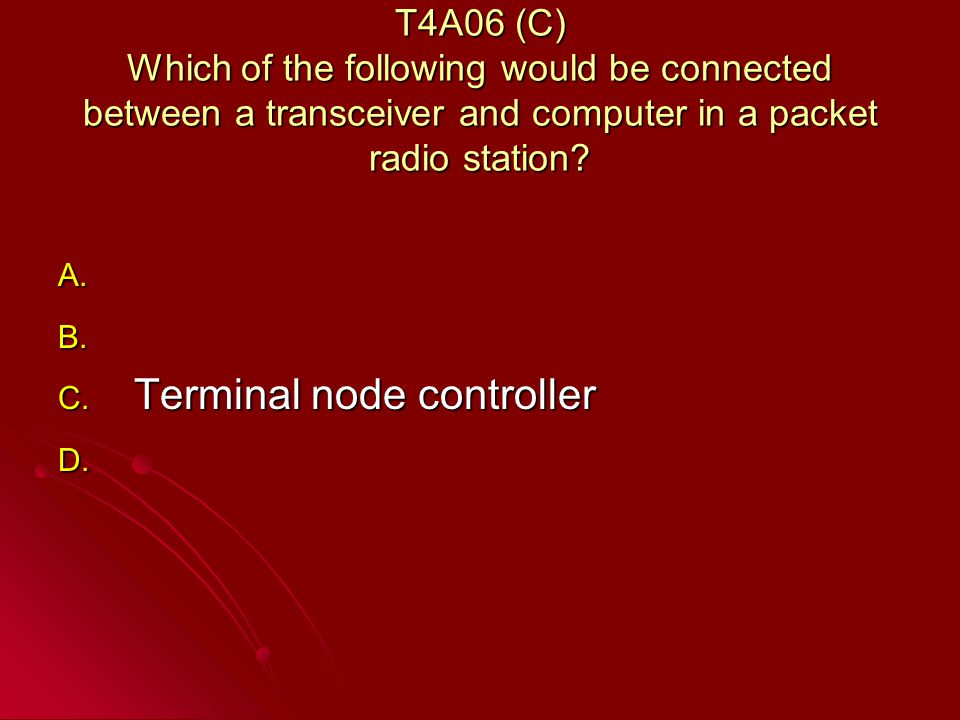 T4A06 (C) Which of the following would be connected between a transceiver and computer in a packet radio station.