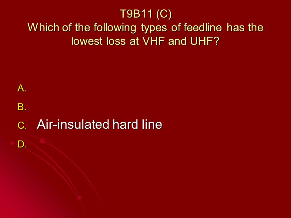 T9B11 (C) Which of the following types of feedline has the lowest loss at VHF and UHF.