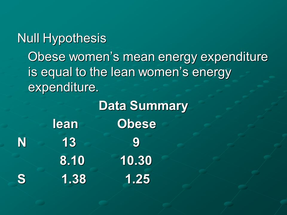 Given below are the 24 hrs total energy expenditure (MJ/day) in groups of lean and obese women.