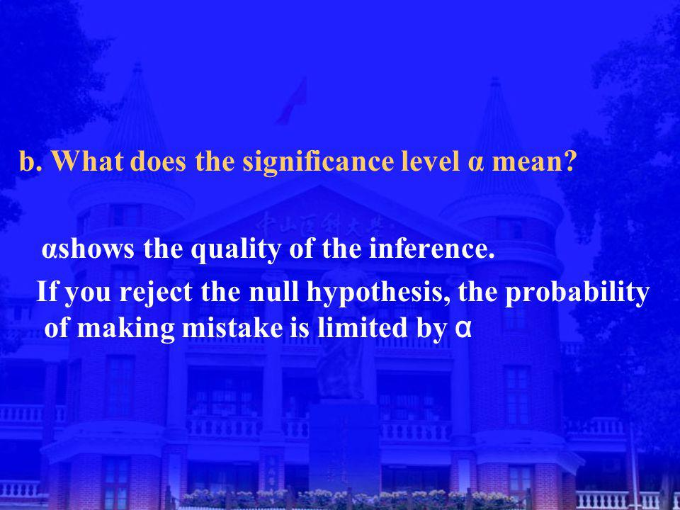 b. What does the significance level α mean. αshows the quality of the inference.