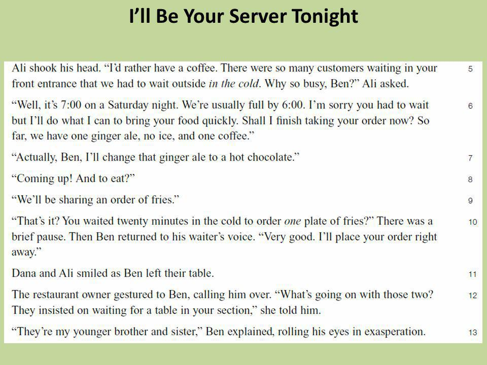 Ill Be Your Server Tonight
