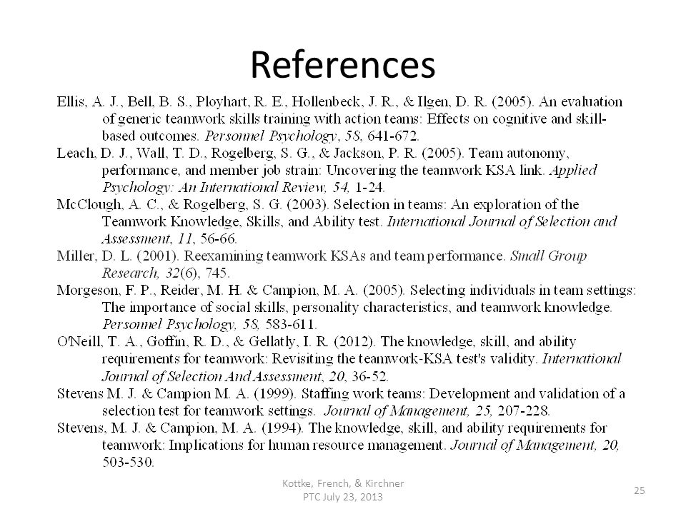 References Kottke, French, & Kirchner PTC July 23, 2013 25