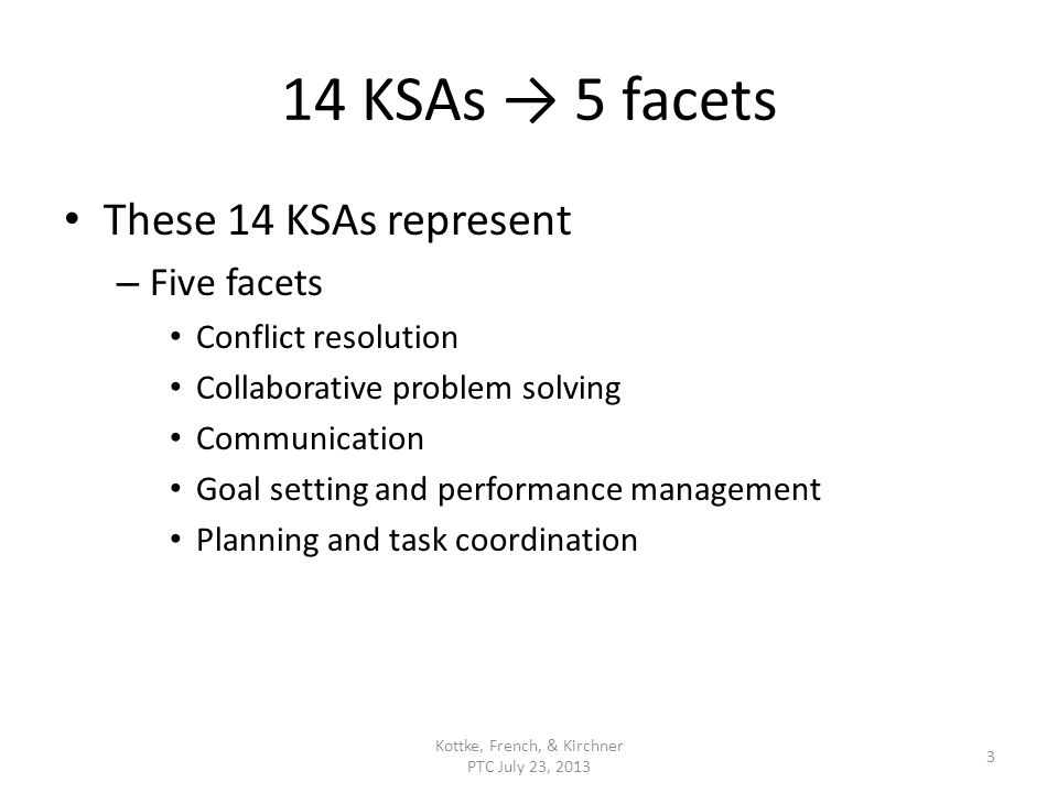 14 KSAs 5 facets These 14 KSAs represent – Five facets Conflict resolution Collaborative problem solving Communication Goal setting and performance management Planning and task coordination Kottke, French, & Kirchner PTC July 23, 2013 3