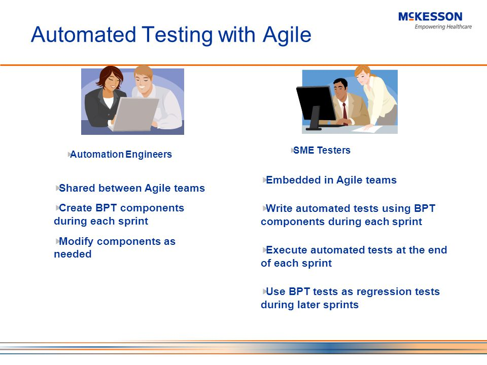 Automated Testing with Agile Automation Engineers SME Testers Shared between Agile teams Create BPT components during each sprint Modify components as needed Embedded in Agile teams Write automated tests using BPT components during each sprint Execute automated tests at the end of each sprint Use BPT tests as regression tests during later sprints