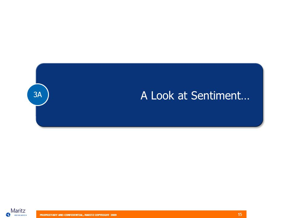 PROPRIETARY AND CONFIDENTIAL, MARITZ COPYRIGHT 2009 15 3A A Look at Sentiment…
