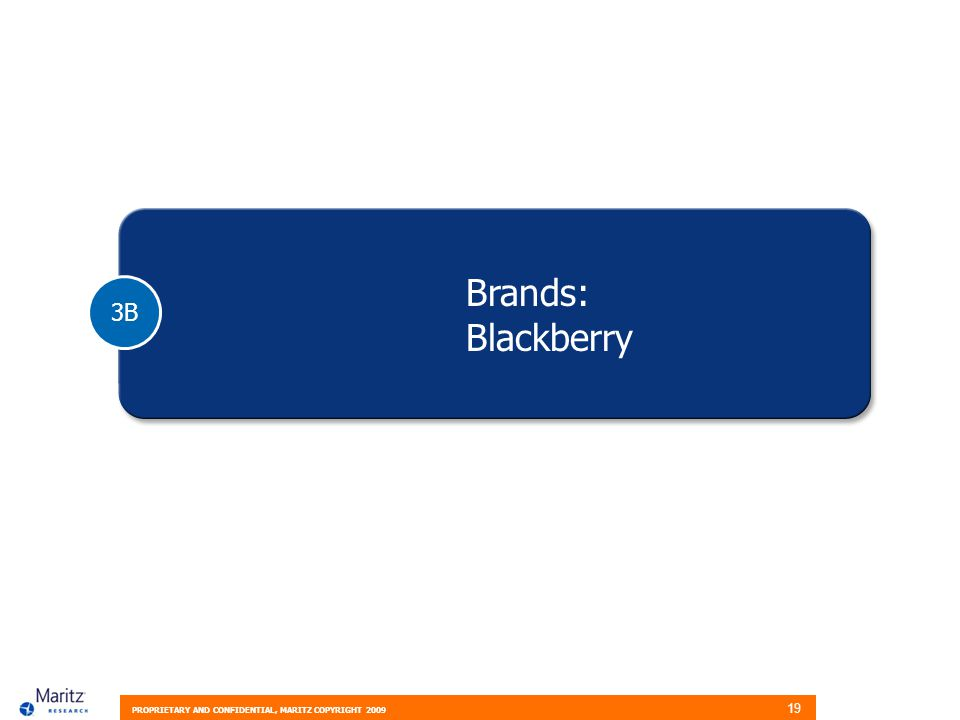 PROPRIETARY AND CONFIDENTIAL, MARITZ COPYRIGHT 2009 19 3B Brands: Blackberry