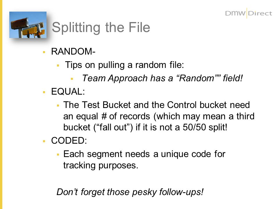 Splitting the File RANDOM- Tips on pulling a random file: Team Approach has a Random field.