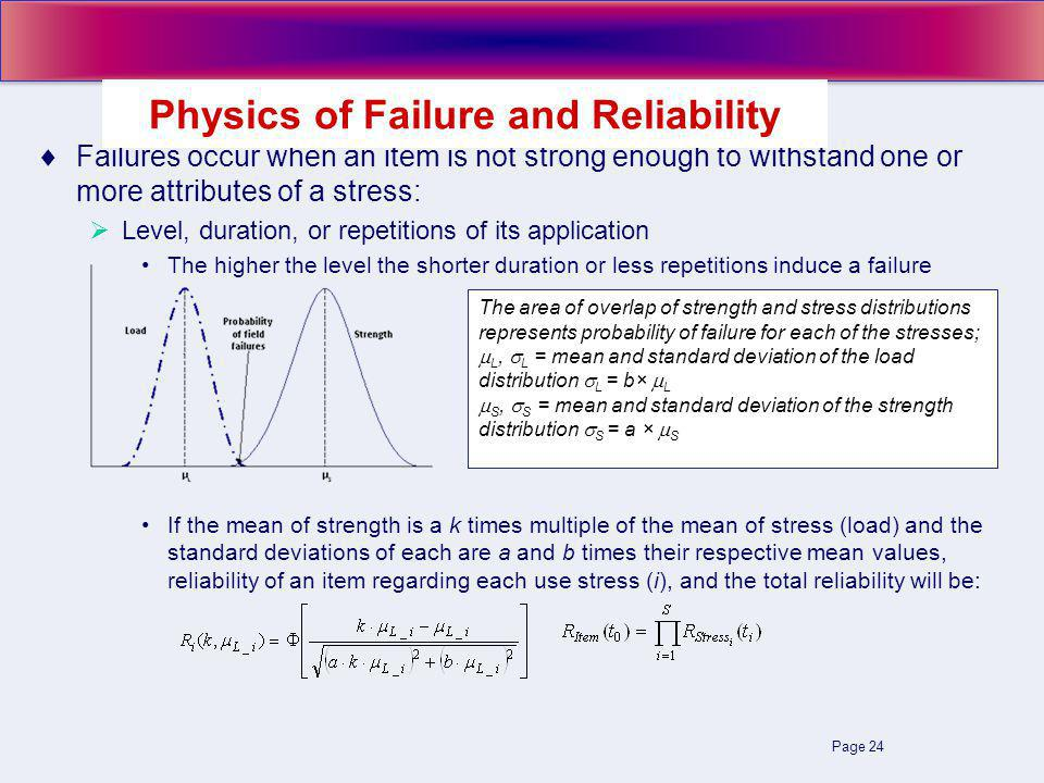 Page 24 Failures occur when an item is not strong enough to withstand one or more attributes of a stress: Level, duration, or repetitions of its application The higher the level the shorter duration or less repetitions induce a failure If the mean of strength is a k times multiple of the mean of stress (load) and the standard deviations of each are a and b times their respective mean values, reliability of an item regarding each use stress (i), and the total reliability will be: Physics of Failure and Reliability The area of overlap of strength and stress distributions represents probability of failure for each of the stresses; L, L = mean and standard deviation of the load distribution L = b× L S, S = mean and standard deviation of the strength distribution S = a × S