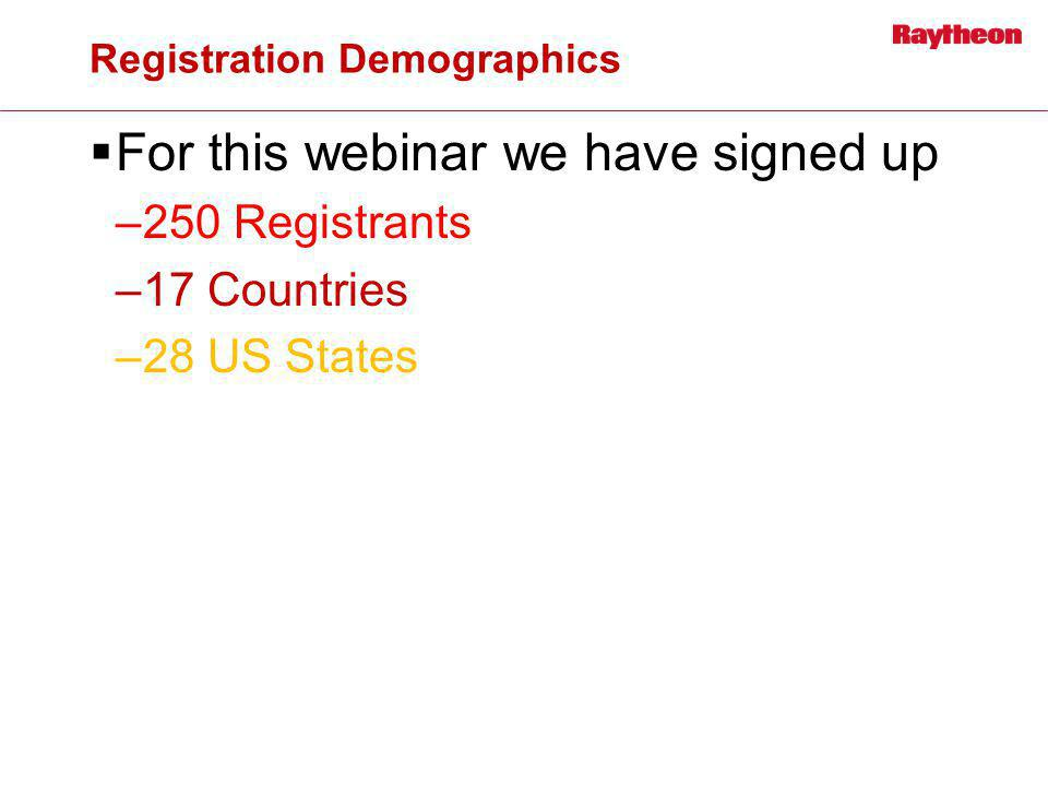 Registration Demographics For this webinar we have signed up –250 Registrants –17 Countries –28 US States