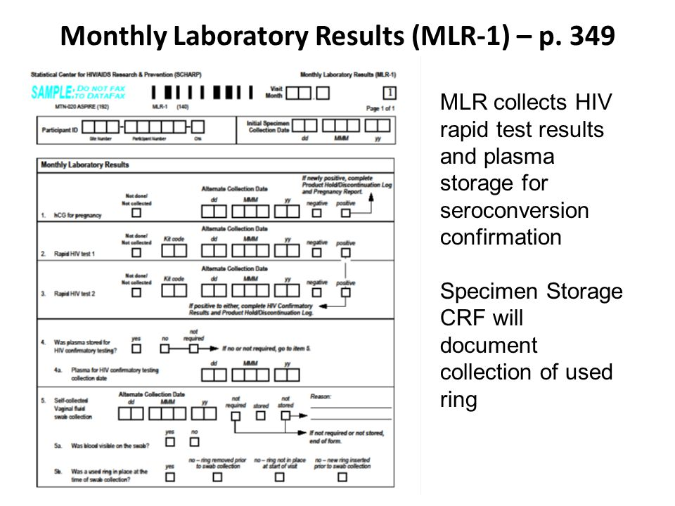 Monthly Laboratory Results (MLR-1) – p.