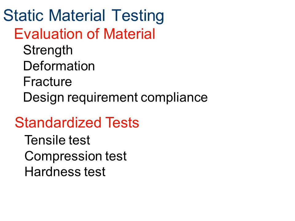 Static Material Testing Strength Deformation Fracture Design requirement compliance Tensile test Compression test Hardness test Evaluation of Material Standardized Tests