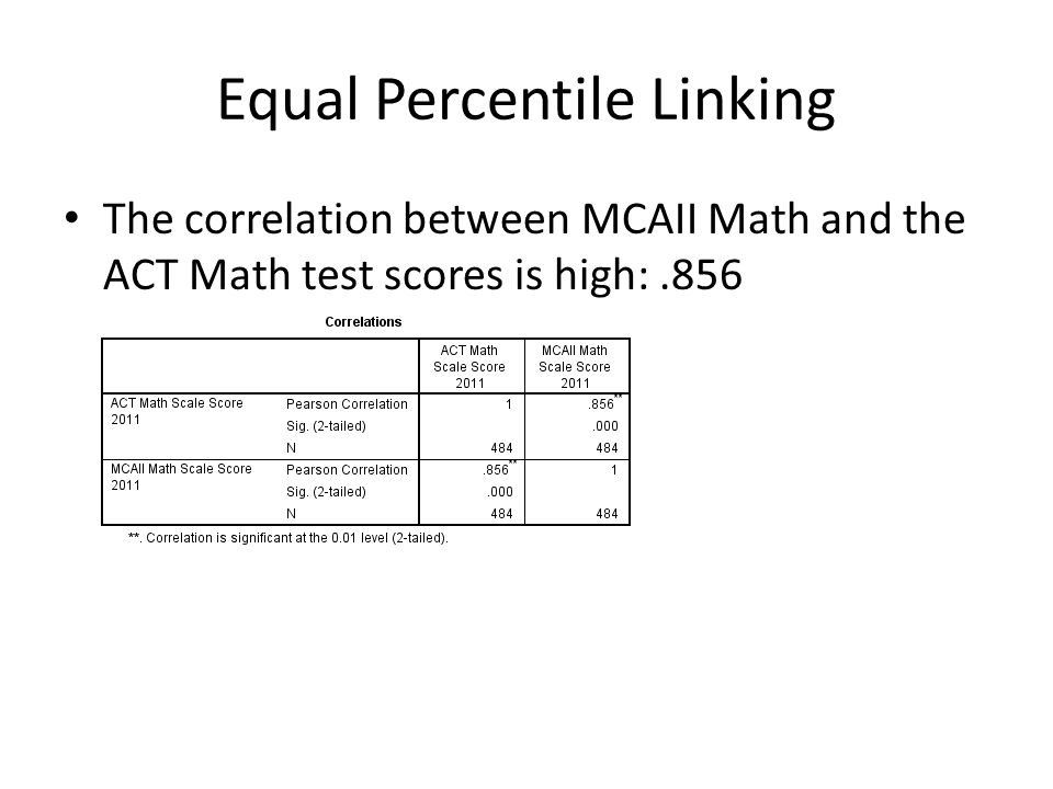 Equal Percentile Linking The correlation between MCAII Math and the ACT Math test scores is high:.856
