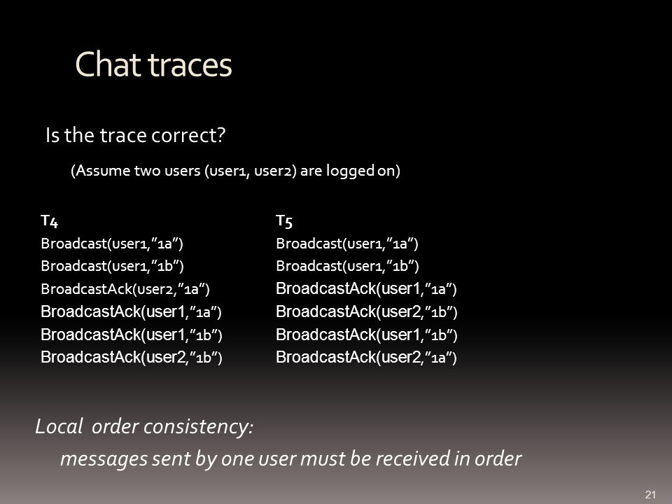 Chat traces Is the trace correct.