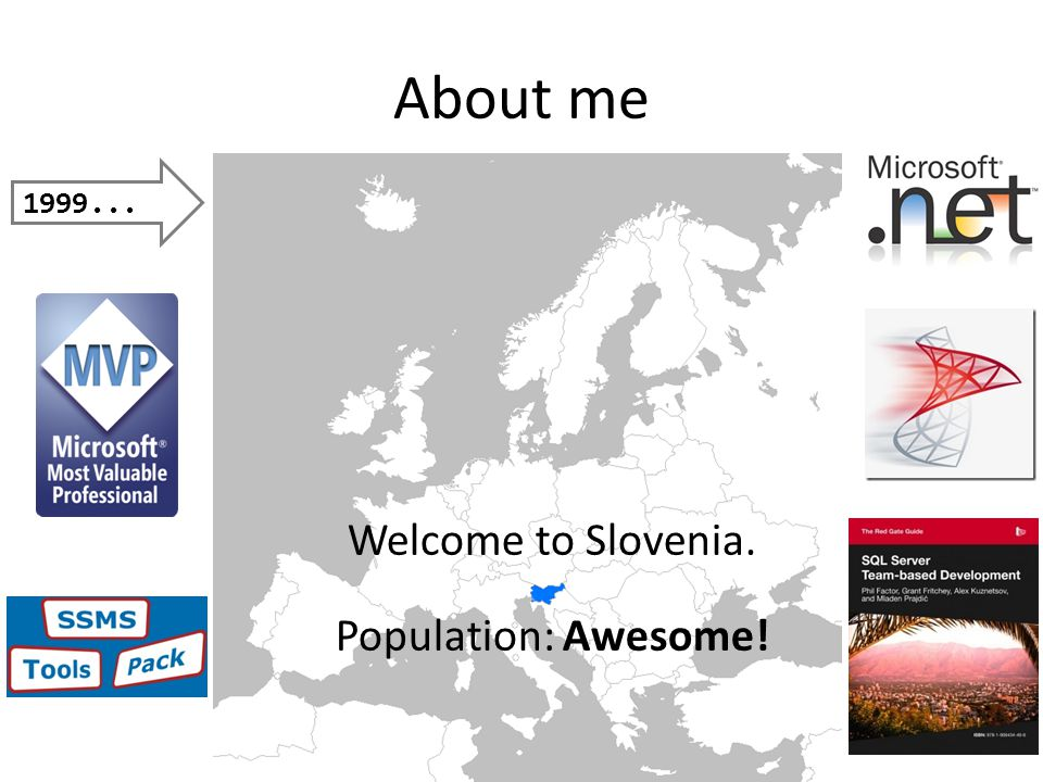 Welcome to Slovenia. Population: Awesome! About me 1999...