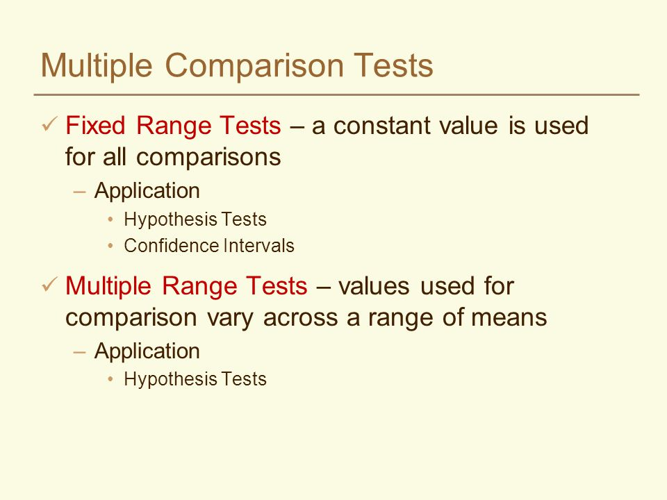 Multiple Comparison Tests Fixed Range Tests – a constant value is used for all comparisons –Application Hypothesis Tests Confidence Intervals Multiple Range Tests – values used for comparison vary across a range of means –Application Hypothesis Tests