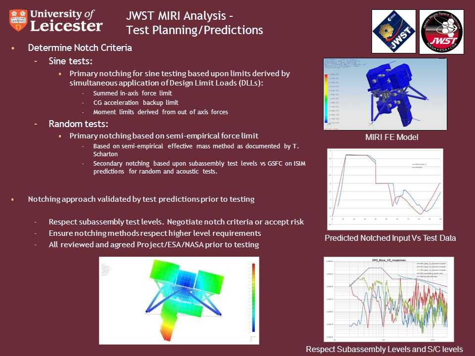JWST MIRI Analysis – Test Planning/Predictions Determine Notch Criteria –Sine tests: Primary notching for sine testing based upon limits derived by simultaneous application of Design Limit Loads (DLLs): –Summed in-axis force limit –CG acceleration backup limit –Moment limits derived from out of axis forces –Random tests: Primary notching based on semi-empirical force limit –Based on semi-empirical effective mass method as documented by T.
