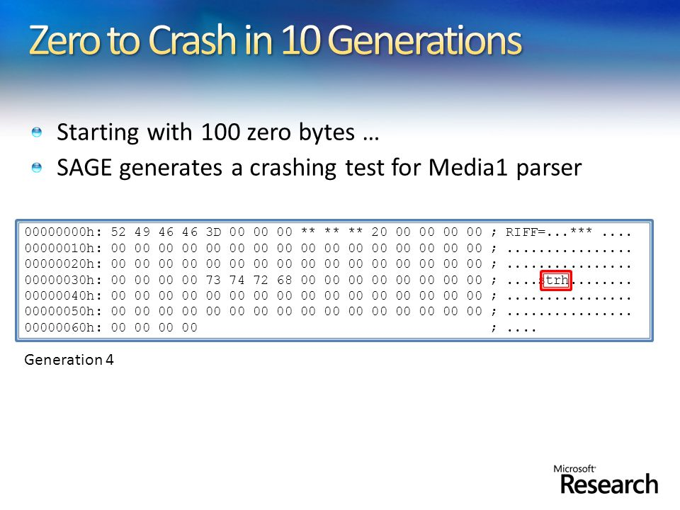 Starting with 100 zero bytes … SAGE generates a crashing test for Media1 parser 00000000h: 52 49 46 46 3D 00 00 00 ** ** ** 20 00 00 00 00 ; RIFF=...***....
