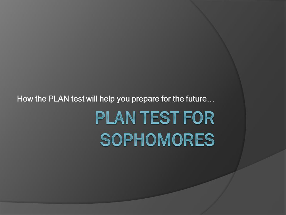 How the PLAN test will help you prepare for the future…