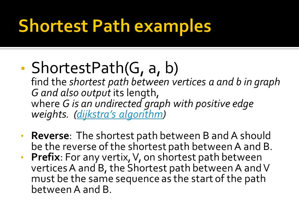 ShortestPath(G, a, b) find the shortest path between vertices a and b in graph G and also output its length, where G is an undirected graph with positive edge weights.