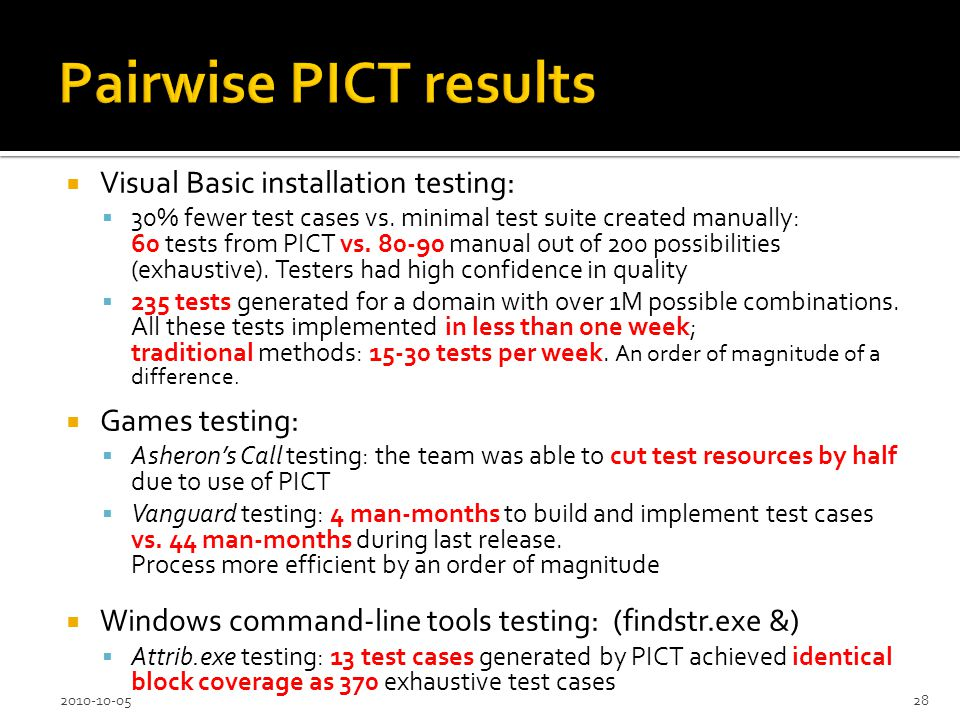 Visual Basic installation testing: 30% fewer test cases vs.