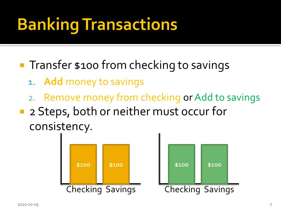 Transfer $100 from checking to savings 1. Add money to savings or Remove from checking 2.