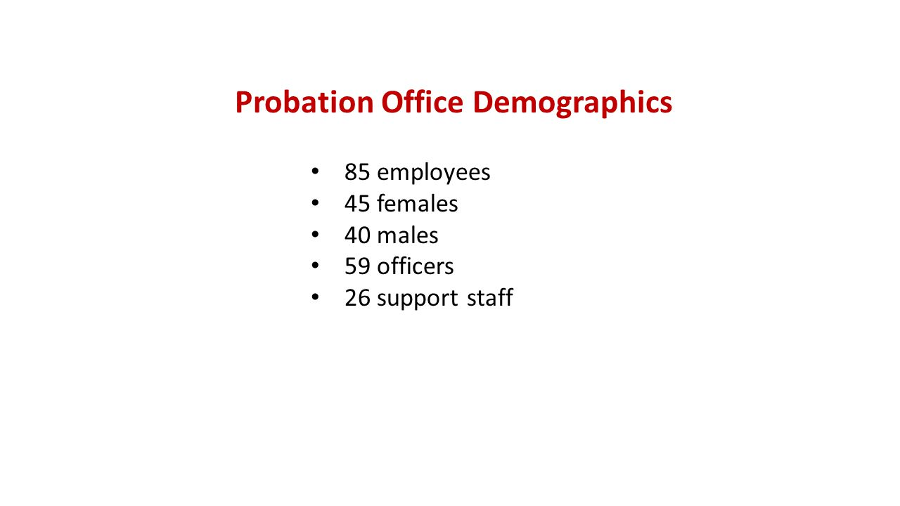 Probation Office Demographics 85 employees 45 females 40 males 59 officers 26 support staff