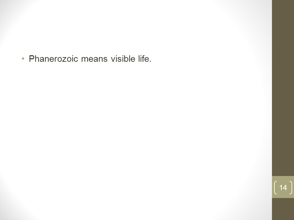 Phanerozoic means visible life. 14