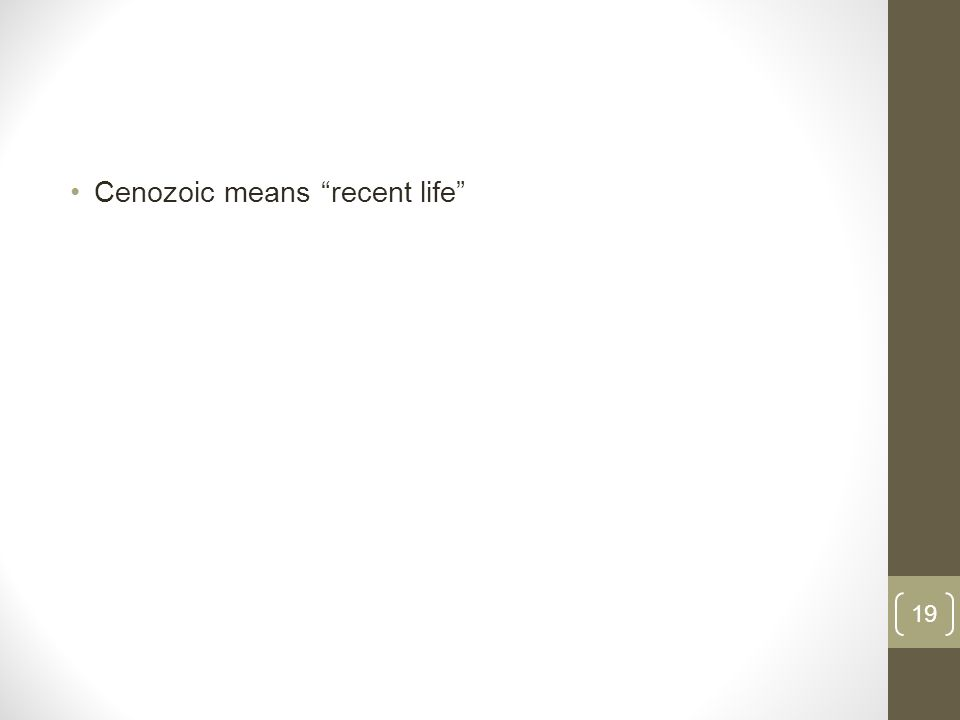 Cenozoic means recent life 19