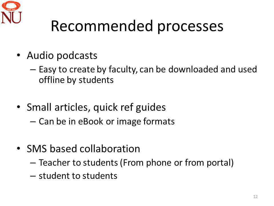 Recommended processes Audio podcasts – Easy to create by faculty, can be downloaded and used offline by students Small articles, quick ref guides – Can be in eBook or image formats SMS based collaboration – Teacher to students (From phone or from portal) – student to students 12