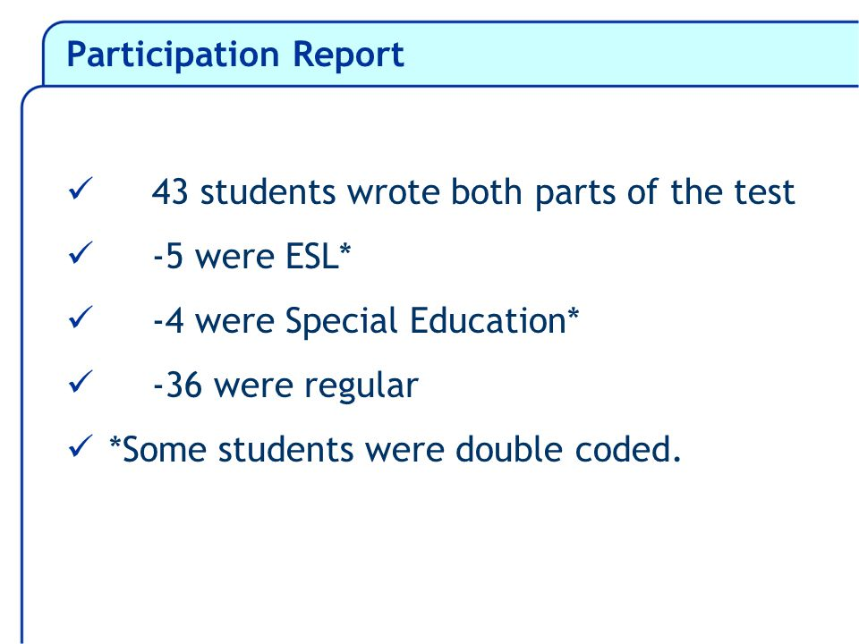 Participation Report 43 students wrote both parts of the test -5 were ESL* -4 were Special Education* -36 were regular *Some students were double coded.