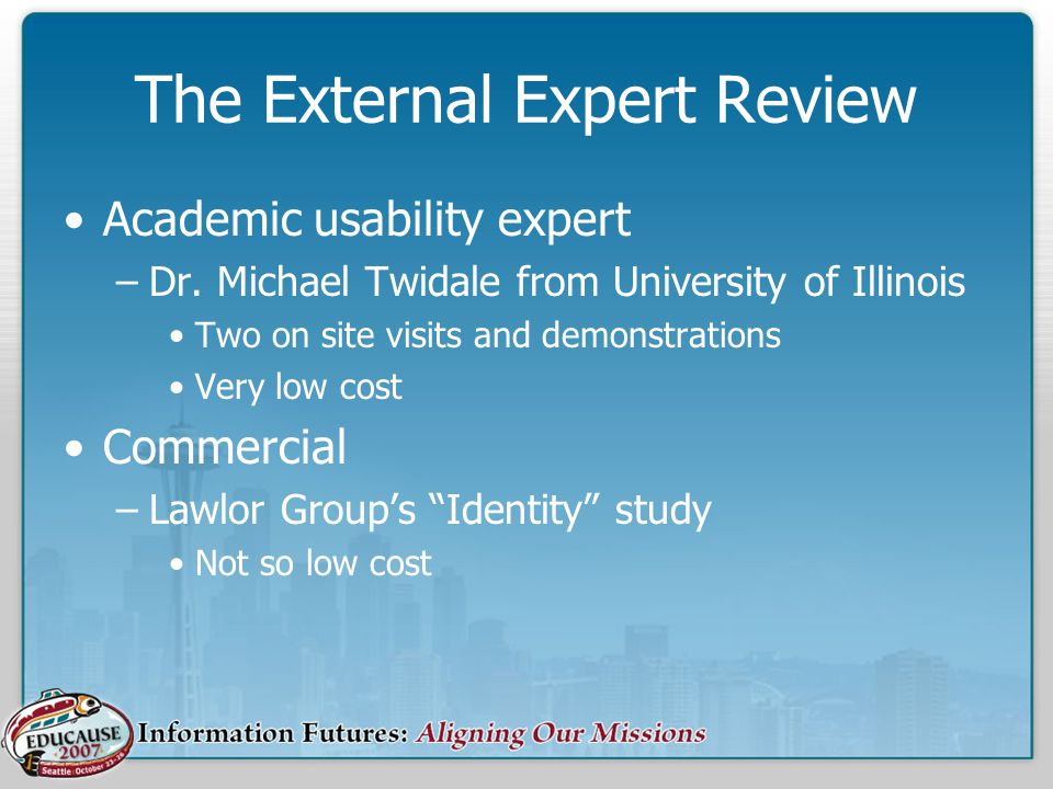 The External Expert Review Academic usability expert –Dr.