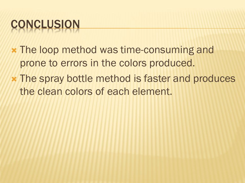 The loop method was time-consuming and prone to errors in the colors produced.