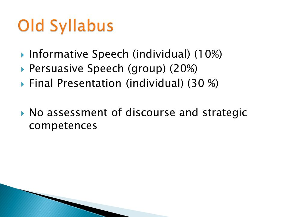 Informative Speech (individual) (10%) Persuasive Speech (group) (20%) Final Presentation (individual) (30 %) No assessment of discourse and strategic competences