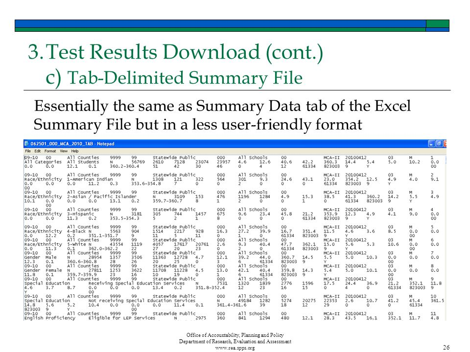 Office of Accountability, Planning and Policy Department of Research, Evaluation and Assessment www.rea.spps.org 26 3.Test Results Download (cont.) c) Tab-Delimited Summary File Essentially the same as Summary Data tab of the Excel Summary File but in a less user-friendly format