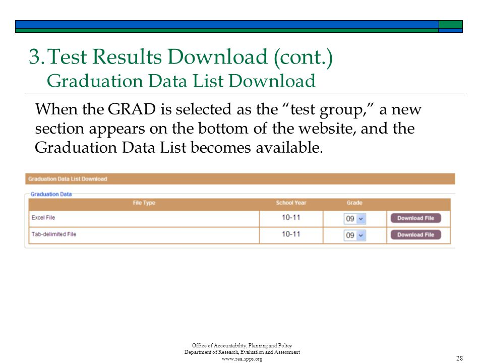 Office of Accountability, Planning and Policy Department of Research, Evaluation and Assessment www.rea.spps.org 28 3.Test Results Download (cont.) Graduation Data List Download When the GRAD is selected as the test group, a new section appears on the bottom of the website, and the Graduation Data List becomes available.