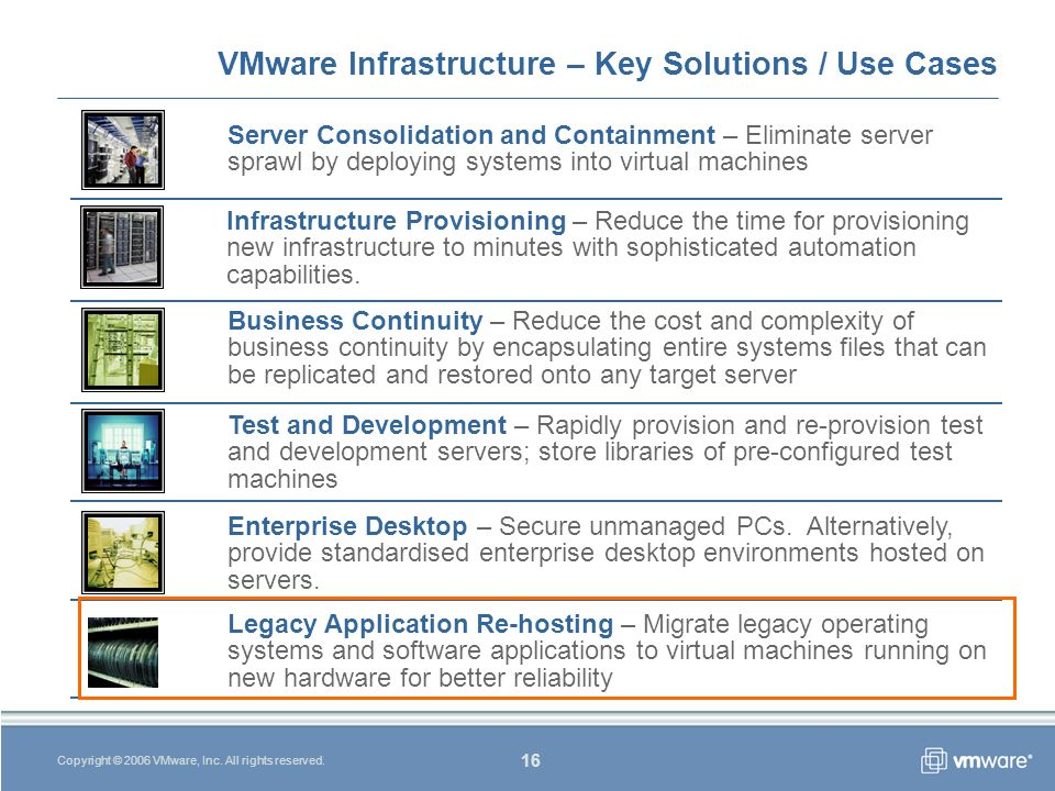 16 Copyright © 2006 VMware, Inc. All rights reserved.