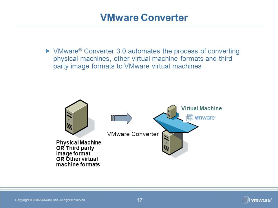 17 Copyright © 2006 VMware, Inc. All rights reserved.