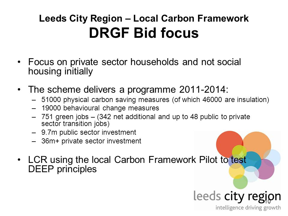 10 Leeds City Region – Local Carbon Framework DRGF Bid focus Focus on private sector households and not social housing initially The scheme delivers a programme 2011-2014: –51000 physical carbon saving measures (of which 46000 are insulation) –19000 behavioural change measures –751 green jobs – (342 net additional and up to 48 public to private sector transition jobs) –9.7m public sector investment –36m+ private sector investment LCR using the local Carbon Framework Pilot to test DEEP principles