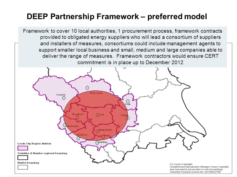 12 DEEP Partnership Framework – preferred model Framework to cover 10 local authorities, 1 procurement process, framework contracts provided to obligated energy suppliers who will lead a consortium of suppliers and installers of measures, consortiums could include management agents to support smaller local business and small, medium and large companies able to deliver the range of measures.