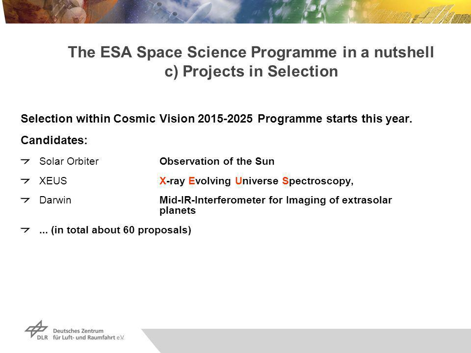 The ESA Space Science Programme in a nutshell c) Projects in Selection Selection within Cosmic Vision 2015-2025 Programme starts this year.