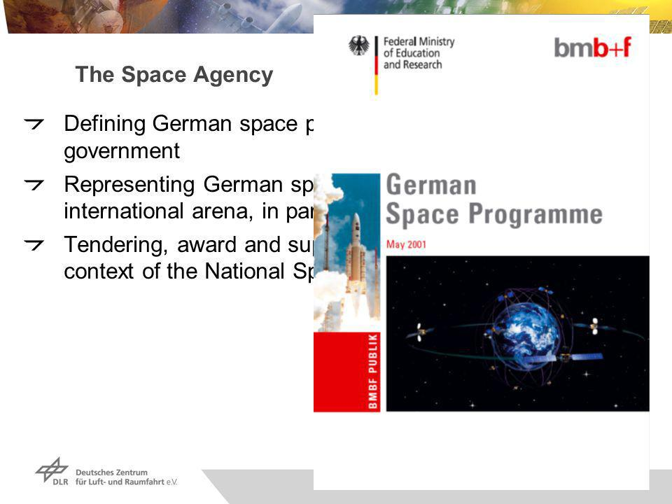 Raumfahrt-Agentur, Seite 2 The Space Agency Defining German space planning on behalf of the federal government Representing German space-related interests in the international arena, in particular vis-à-vis the ESA Tendering, award and support of space projects in the context of the National Space Program