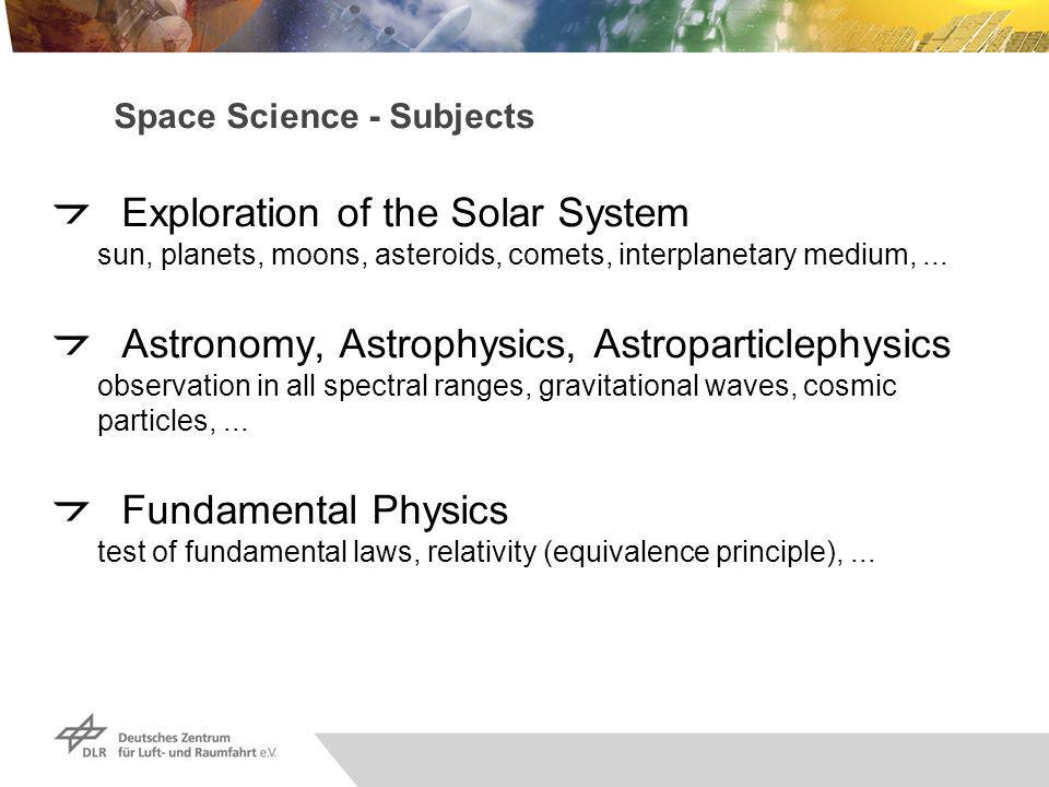 Space Science - Subjects Exploration of the Solar System sun, planets, moons, asteroids, comets, interplanetary medium,...