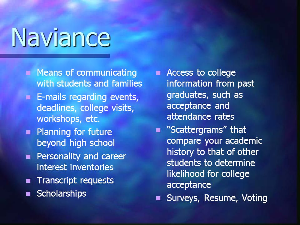 Naviance Means of communicating with students and families  s regarding events, deadlines, college visits, workshops, etc.