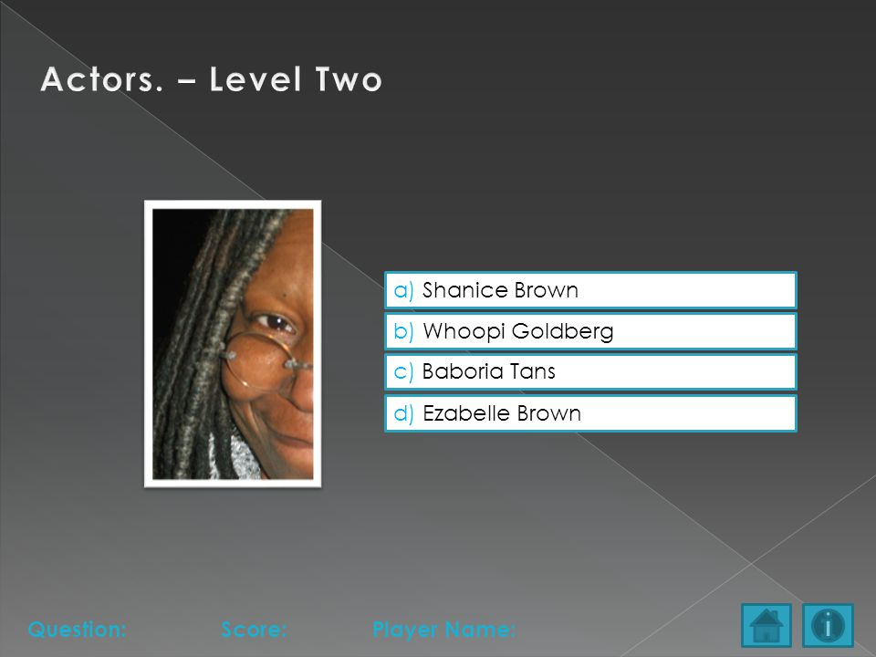 a) Shanice Brown b) Whoopi Goldberg c) Baboria Tans d) Ezabelle Brown Question:Score:Player Name: