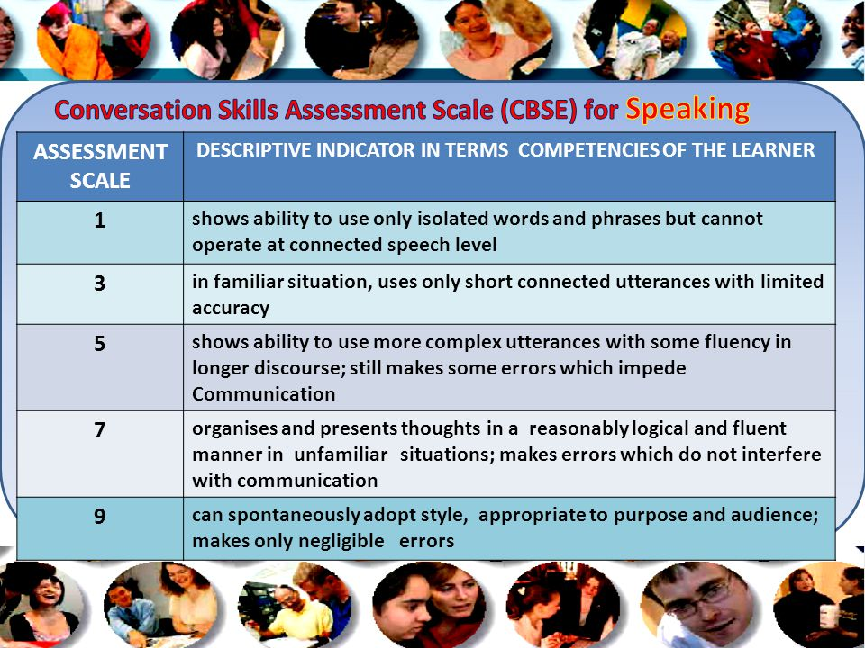 ASSESSMENT SCALE DESCRIPTIVE INDICATOR IN TERMS COMPETENCIES OF THE LEARNER 1 shows ability to use only isolated words and phrases but cannot operate at connected speech level 3 in familiar situation, uses only short connected utterances with limited accuracy 5 shows ability to use more complex utterances with some fluency in longer discourse; still makes some errors which impede Communication 7 organises and presents thoughts in a reasonably logical and fluent manner in unfamiliar situations; makes errors which do not interfere with communication 9 can spontaneously adopt style, appropriate to purpose and audience; makes only negligible errors