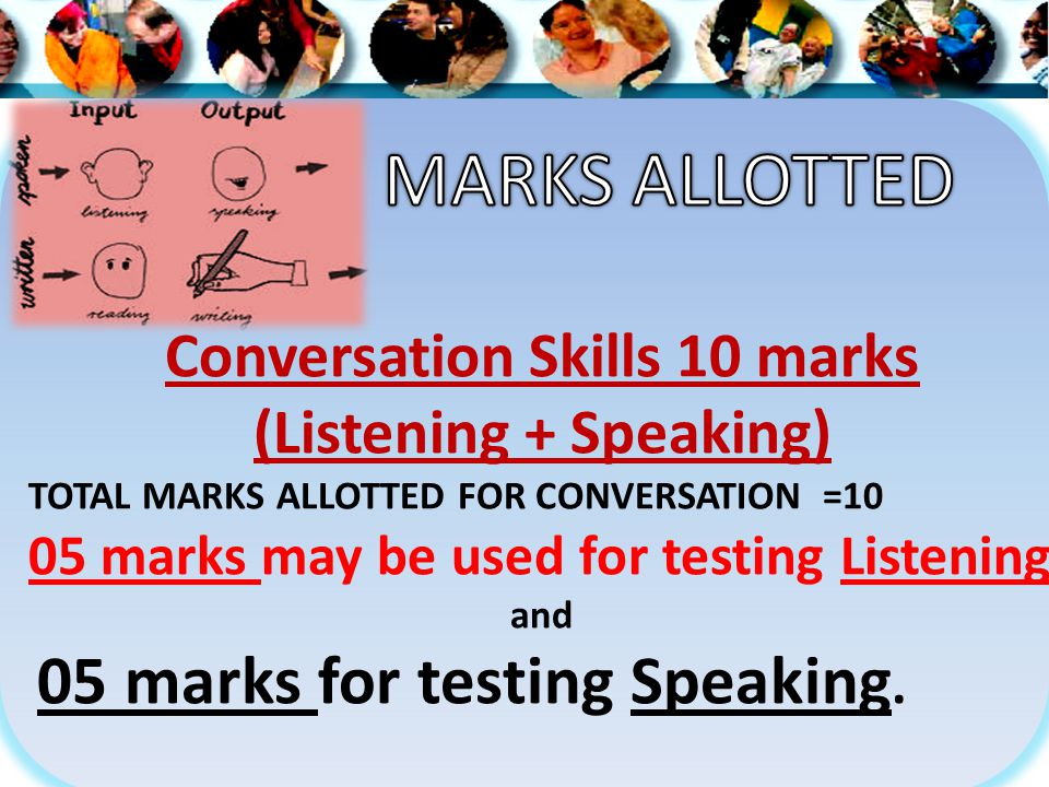 Conversation Skills 10 marks (Listening + Speaking) TOTAL MARKS ALLOTTED FOR CONVERSATION =10 05 marks may be used for testing Listening and 05 marks for testing Speaking.