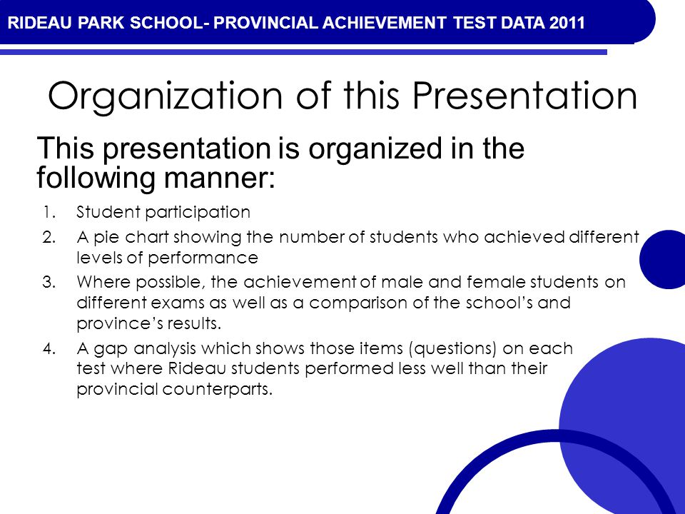 RIDEAU PARK SCHOOL- PROVINCIAL ACHIEVEMENT TEST DATA 2010 Organization of this Presentation 1.Student participation 2.A pie chart showing the number of students who achieved different levels of performance 3.Where possible, the achievement of male and female students on different exams as well as a comparison of the schools and provinces results.